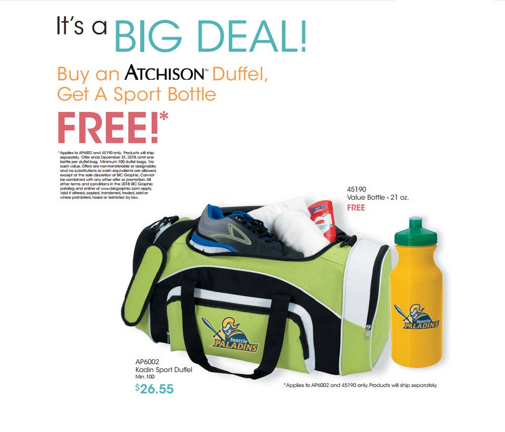 Buy a Duffel, Get A Sport Bottle Free!